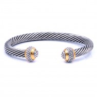 Two-Tone Plated with Crystal Cable Cuff bracelets