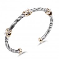 Fashion Little X with Crystal 2-Tone Cable Bracelet