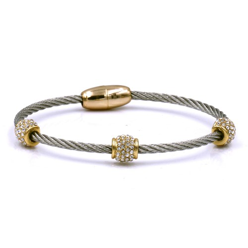 2-Tones Plated with Crystal Cable Bracelets