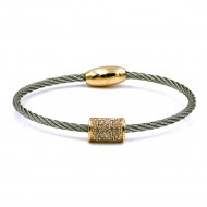 Two-Tone Plated with Crystal Cable Bracelets