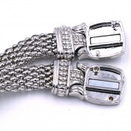 Rhodium Plated with Crystal Cable Bracelets