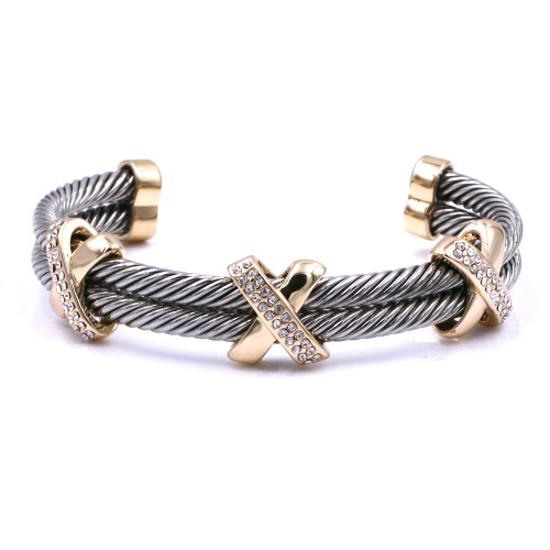 2-Tones with Crystal Cable Bracelets