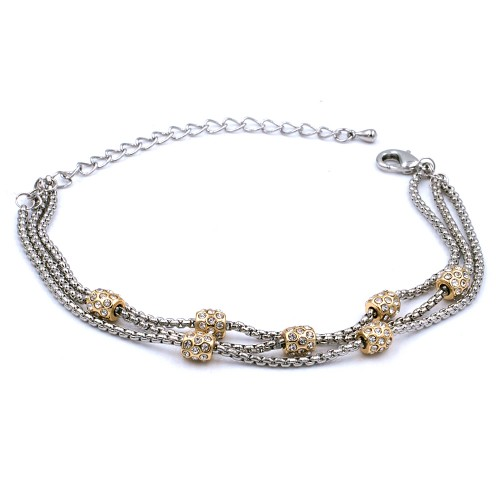 Two-Tone Plated With Three Line Crystal Ball Bracelets