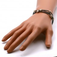 Black Plated with Three Line Crystal Ball Bracelets