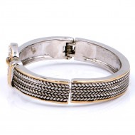 2-Tones Plated with Cable Cuff Bracelets