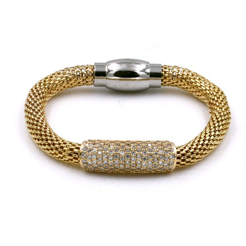 Gold Plated with Mesh Chain Magnetic Bracelets