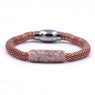 Rose Gold Plated with Mesh Chain Magnetic Bracelets