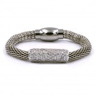 Rhodium Plated with Mesh Chain Magnetic Bracelets
