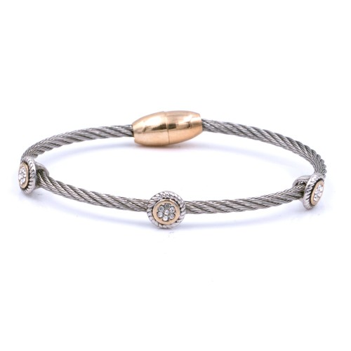 2-Tones Plated wiht Crystal Cable Bracelets