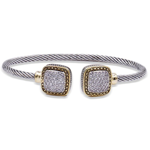 Two-Tone Plated With CZ Cubic Zirconia Cable Cuff Bracelets
