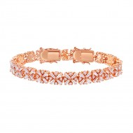 Rose Gold Plated with Luxury Clear Baguette-Cut Trendy Design AAA CZ Bracelet Tennis Bridal Wedding Party Jewelry