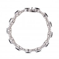 Rhodium Plated with Black Oval AAA CZ Sapphire Bracelet Tennis Bridal Wedding Party Jewelry For Woman