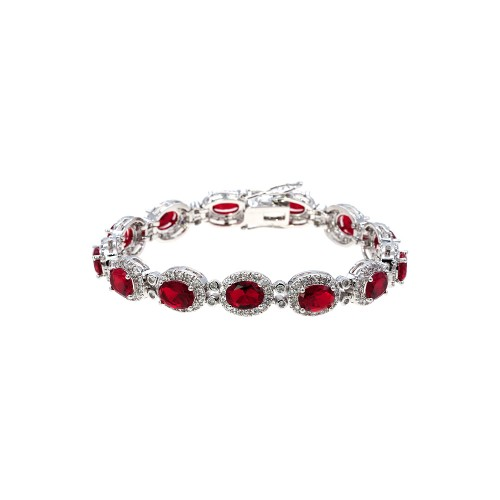 Rhodium Plated with Red Oval AAA CZ Sapphire Bracelet Tennis Bridal Wedding Party Jewelry For Woman