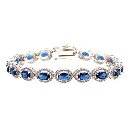 Rhodium Plated With Blue Luxury Oval Sapphire AAA CZ Bracelet Tennis Bridal Wedding Party Jewelry For Woman