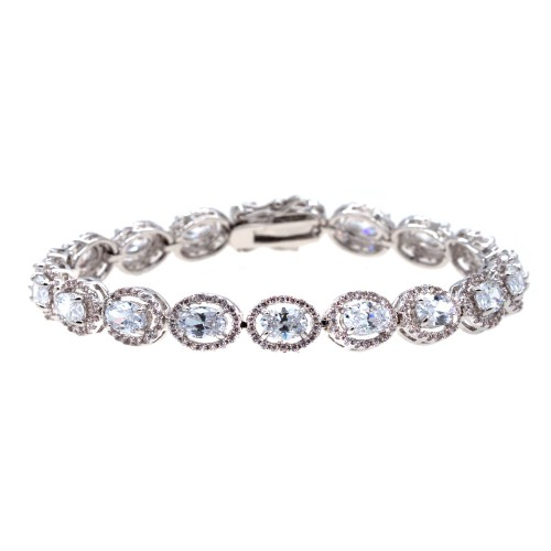 Rhodium Plated With Clear Luxury Oval Sapphire AAA CZ Bracelet Tennis Bridal Wedding Party Jewelry For Woman