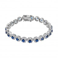 Rhodium Plated With Blue AAA CZ Bracelets Flower Floral Sapphire Bracelet Tennis Bridal Wedding Party Jewelry