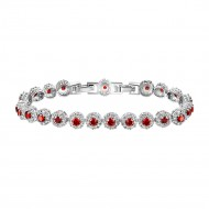 Rhodium Plated With Red AAA CZ Bracelets Flower Floral Sapphire Bracelet Tennis Bridal Wedding Party Jewelry