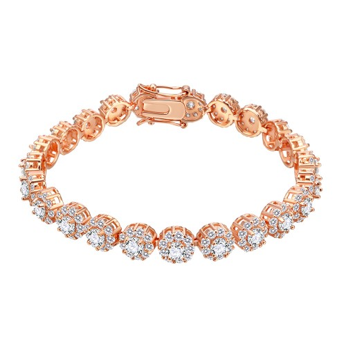 Rose Gold Plated With Clear AAA CZ Bracelets Flower Floral Sapphire Bracelet Tennis Bridal Wedding Party Jewelry