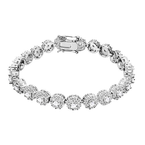 Rhodium Plated With Clear AAA CZ Bracelets Flower Floral Sapphire Bracelet Tennis Bridal Wedding Party Jewelry