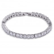 Rhodium Plated With 4 MM Princess Cut Clear Cubic Zirconia Tennis Bracelets