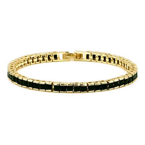 Gold Plated With Black Princess Cut CZ 4MM Tennis Bracelests. 7 inch+1 inch Ext