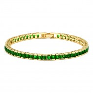 Gold Plated With Emerald Green Princess Cut CZ 4MM Tennis Bracelests. 7 inch+1 inch Ext