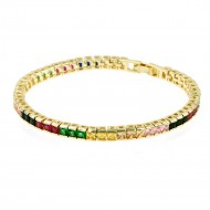 """Gold Plated With Multi Color Prnicess Cut 4MM Tennis Bracelets. 7""""+1' Lengh"""