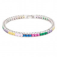 """Rhodium Plated With Multi Color Prnicess Cut 4MM Tennis Bracelets. 7""""+1' Lengh"""