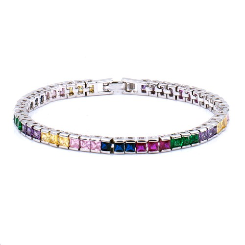 "Rhodium Plated With Multi Color Prnicess Cut 4MM Tennis Bracelets. 7""+1' Lengh"
