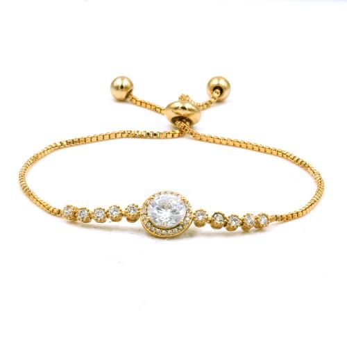 Gold Plated with Cubic Zirconia Adjustable Lariat Bracelets Sliding Adjustable Bracelet Dangle Party Jewelry