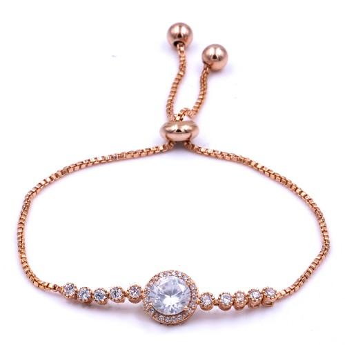 Rose Gold Plated with Cubic Zirconia Adjustable Lariat Bracelets Sliding Adjustable Bracelet Dangle Party Jewelry