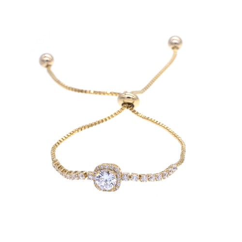 Gold Plated with Sliding Adjustable Bracelet AAA Clear Cubic Zirconia Dangle Party Jewelry