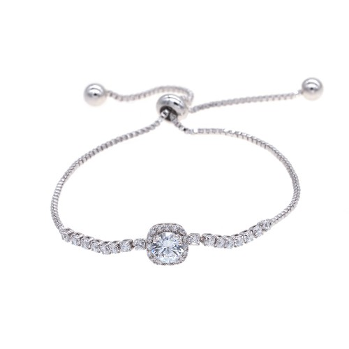 Rhodium Plated with Sliding Adjustable Bracelet AAA Clear Cubic Zirconia Dangle Party Jewelry