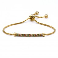 Gold Plated With Multi Color CZ Bar Lairat Bracelets