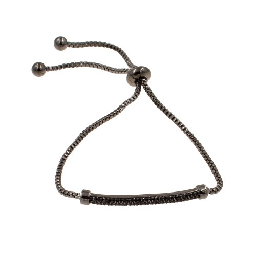 Black AAA Cubic Zirconia Lairat Bracelets Sliding Adjustable Diamond Bar Bracelets Micro Paved Dangle Fashion Wedding Party Jewelry For Women
