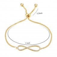 Gold Plated with Clear Cubic Zirconia Infinity Love Lariat Adjustable Bracelets Infinity Love Adjustable Chain Bracelets for Women & Girls