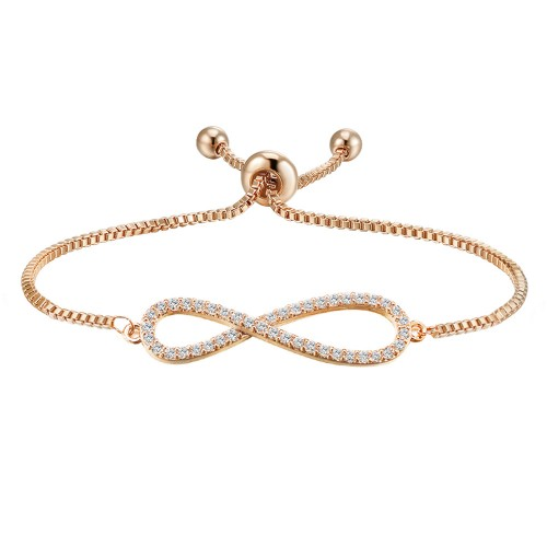 Rose Gold Plated with Clear Cubic Zirconia Infinity Love Adjustable Chain Bracelets for Women & Girls