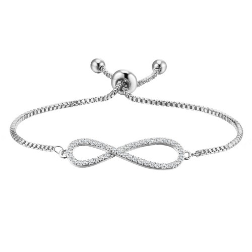 Rhodium Plated with Clear Cubic Zirconia Infinity Love Lariat Adjustable Bracelets for Women & Girls