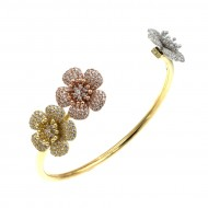 3 Tone Flowers Gold Plated with Cubic Zirconia Open Cuff Bangle Bracelet for Women Girls
