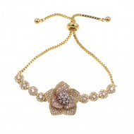 3-Tones Plated Flower Fashion Sliding Adjustable Bracelet AAA Clear Cubic Zirconia Lariat Jewelry