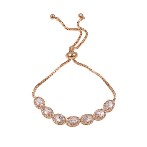 Rose Gold Plated with Cubic Zirconia Adjustable Bracelets Evening Party Bling Jewelry For Women & Girls