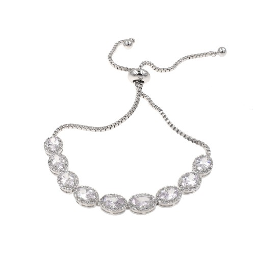 Rhodium Plated with Cubic Zirconia Adjustable Bracelets Evening Party Bling Jewelry For Women & Girls
