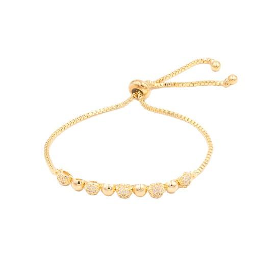 Gold Plated With Cubic Zirconia Sliding Adjustable Lariat Bracelets