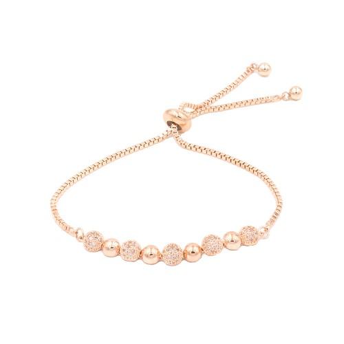 Rose Gold Plated With Cubic Zirconia Sliding Adjustable Lariat Bracelets