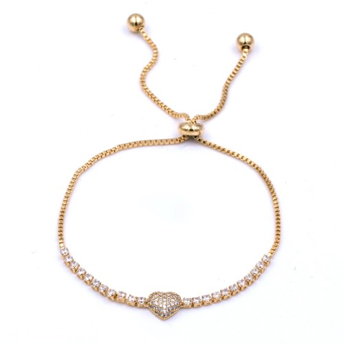 Gold Plated With Cubic Zirconia  CZ Lariat Bracelets