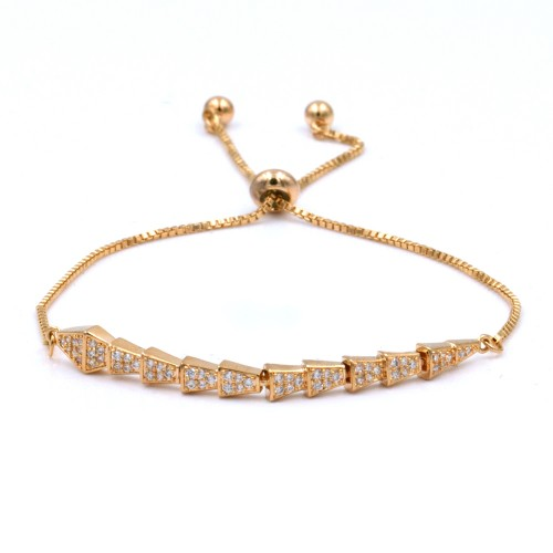 Gold Plated With Clear Cubic Zirconia CZ Lariat Snake Bracelets