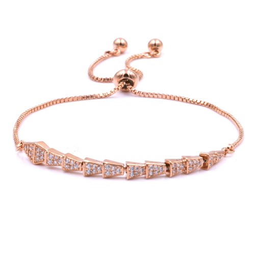 Rose Gold Plated With Clear Cubic Zirconia CZ Lariat Snake Bracelets