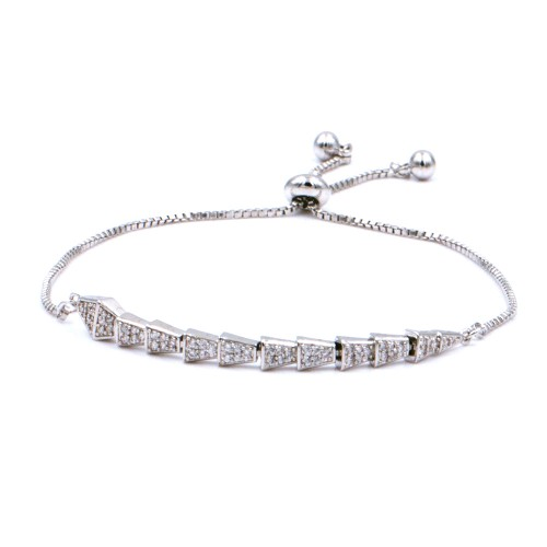 Rhodium Plated With Clear Cubic Zirconia CZ Lariat Snake Bracelets