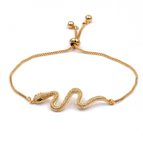 Gold Plated With Cubic Zirconia CZ Snake Lariat Bracelets