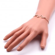 Rose Gold Palted With Cubic Zirconia CZ Snake Lariat Bracelets